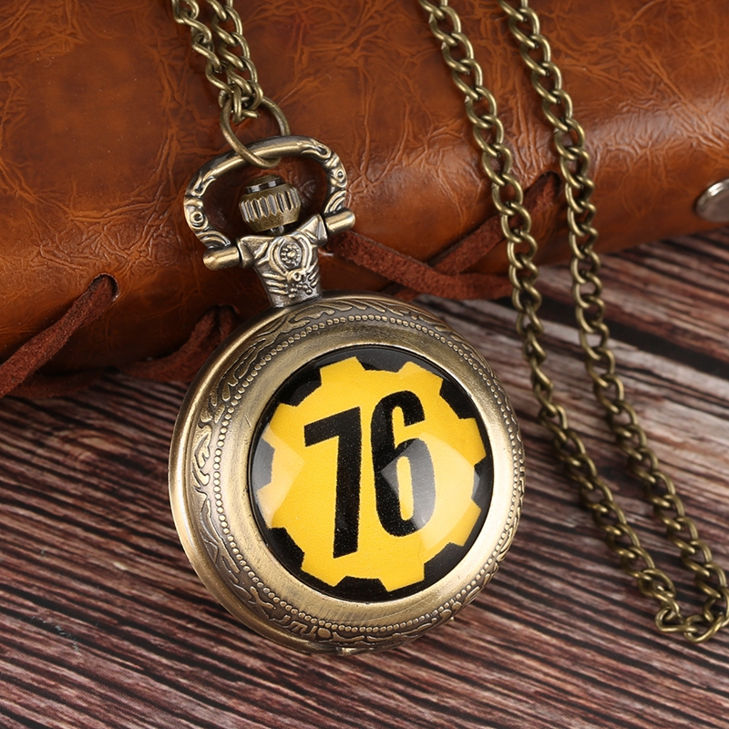 Fallout 76 Vault 111 FALLOUT 4 Theme Quartz Pocket Watch Pendant Retro Bronze Chain Necklace Unique Souvenir Gifts for Game Fans (5)