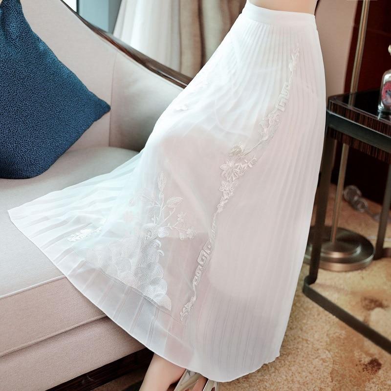 Высокое качество юбки 2019 Весна Лето Мода белый розовый юбка женская люрекс вышивка по щиколотку винтажные юбки плюс размер - 3
