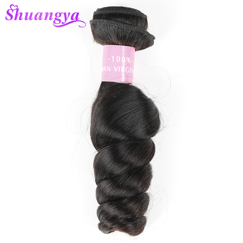 Peruvian Loose Wave Hair 100% Human Hair Bundles 8-28Inch Natural Black Color Remy Hair Extension Free Ship Shuangya Hair Weave
