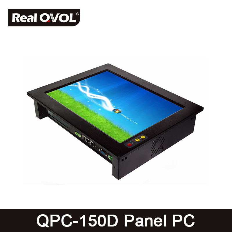 QPC-150D Panel Touch PC Industrial Computer Fanless Core2 P8600 2.4GHz CPU, 32GB SSD With VGA HDMI Port & 5 Serial Port,2 LAN