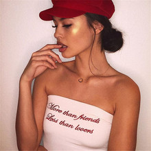 Focal20 Streetwear Sexy Letter Embroidery Tube Top Women Summer Strapless Slim Tube Tops Off Shoulder Crop Top