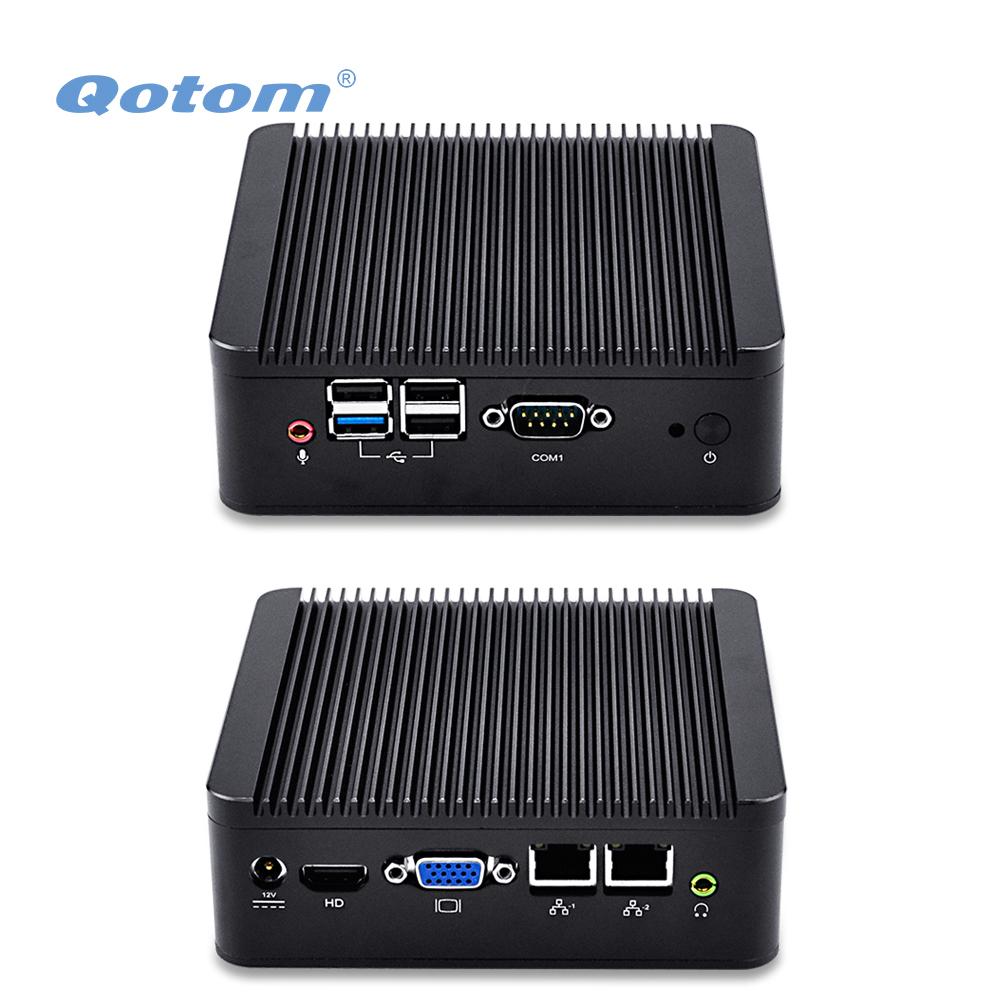 Prix pour QOTOM Double LAN Mini Ordinateur avec Bay Trail J1900 Processeur à bord, Quad core 2.0 GHz, Fanless mini industrielle PC avec 2 LAN
