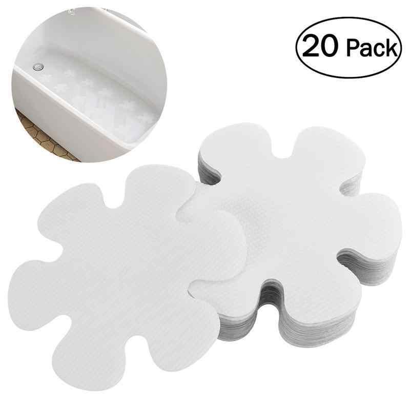 20 Pcs Bunga Bentuk PEVA Anti-Slip Bathtub Stiker Keselamatan Mandi Shower Tapak 10 Cm (Transparan)