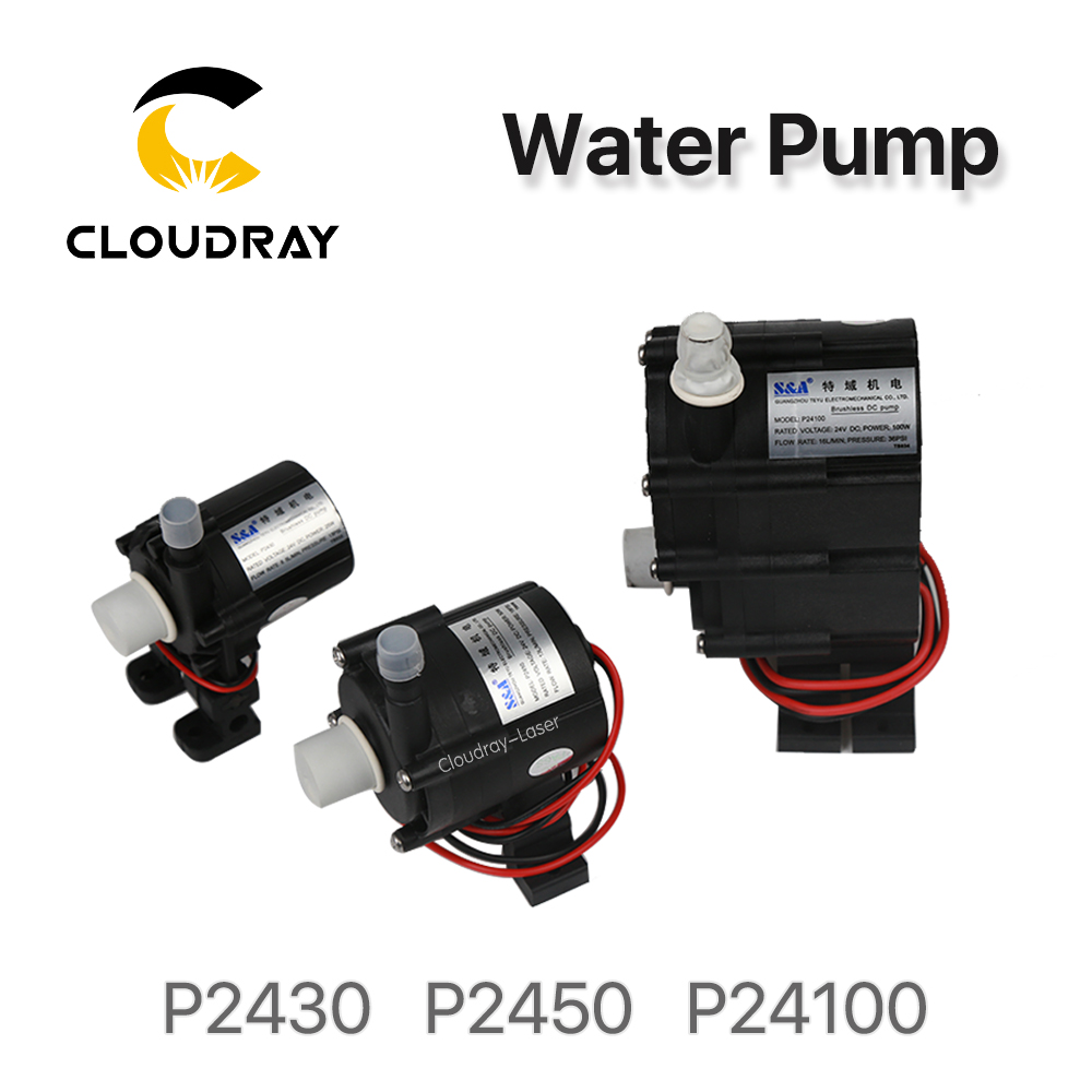 Cloudray Water Pump P2430 P2450 P24100 for S&A Industrial Chiller CW-3000 AG(DG) CW-5000 AH(DH) CW-5200 AI(DI) chiller cw 3000 cw 5200 water pump voltage 24v dc power 30w flow rate 8 5l min head 8 meter