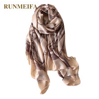 RUNMEIFA New Fashion Women Classic Print Chain Pattern Simulation Silk Scarf Luxury Brand High Soft Head