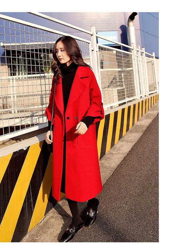 Femmes Loisirs D'hiver Lâche Automne Le Colour Mince Nouveau Genou Grande 2018 Sur Manteau Noir caramel Longue De rouge Taille Et Laine Section vxSWt0