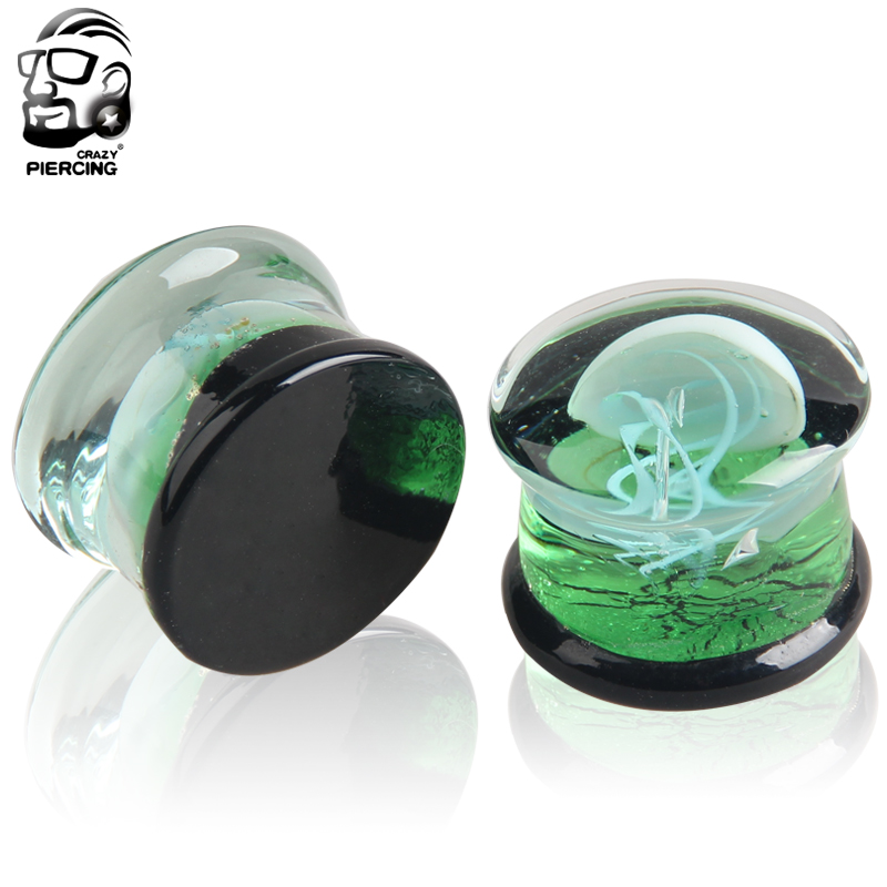 ClassicPair of Glass Double Flared white Jellyfish ear Plugs 8mm-16mm Translucent brigh ocean body jewelry piercing