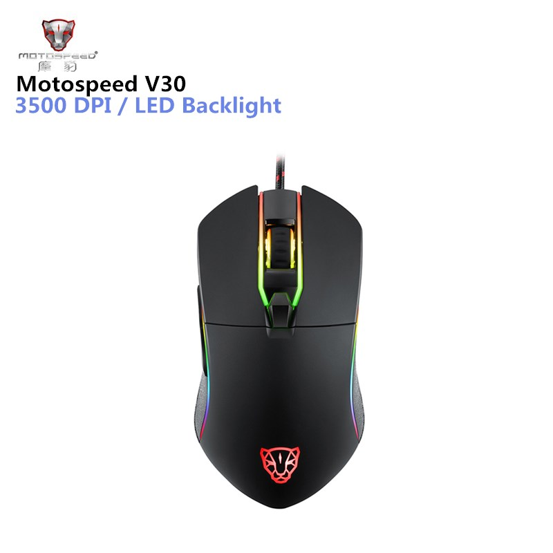 Motospeed V30 Professional Gaming Mouse USB Wired Optical Mouse Adjustable 3500DPI Resolution RGB LED Backlight for PC Game sunsonny t m30 usb wired 6 button 600 1000 1600dpi adjustable led gaming mouse golden red