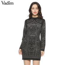 Fashion Sexy Geometric Pattern Rhinestone Turtleneck long-sleeved bodycon tight dress party dress ZC004(China)