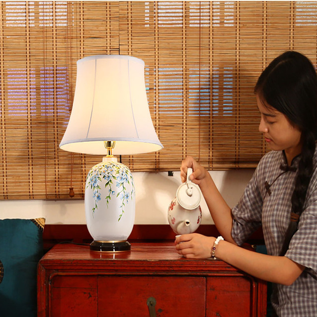 Classical Hand-painted Ceramic Chinese Style Led Table Lamp Switch Button 110V/240V Retro E27 40W Dimmer Switch Reading Bed Ligh