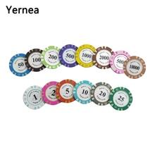купить Yernea 1PCS Playing Card Chips 14g Clay Embedded Iron Texas Hold'em Playing Chip Poker Baccarat Coin Baccarat 14 Colors по цене 37.78 рублей