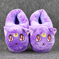 """1 Pair 11""""28cm Anime Sailor Moon Luna Cat Plush Slippers Warm Winter Adult Slippers Gift For GirlFriend Free Shipping"""