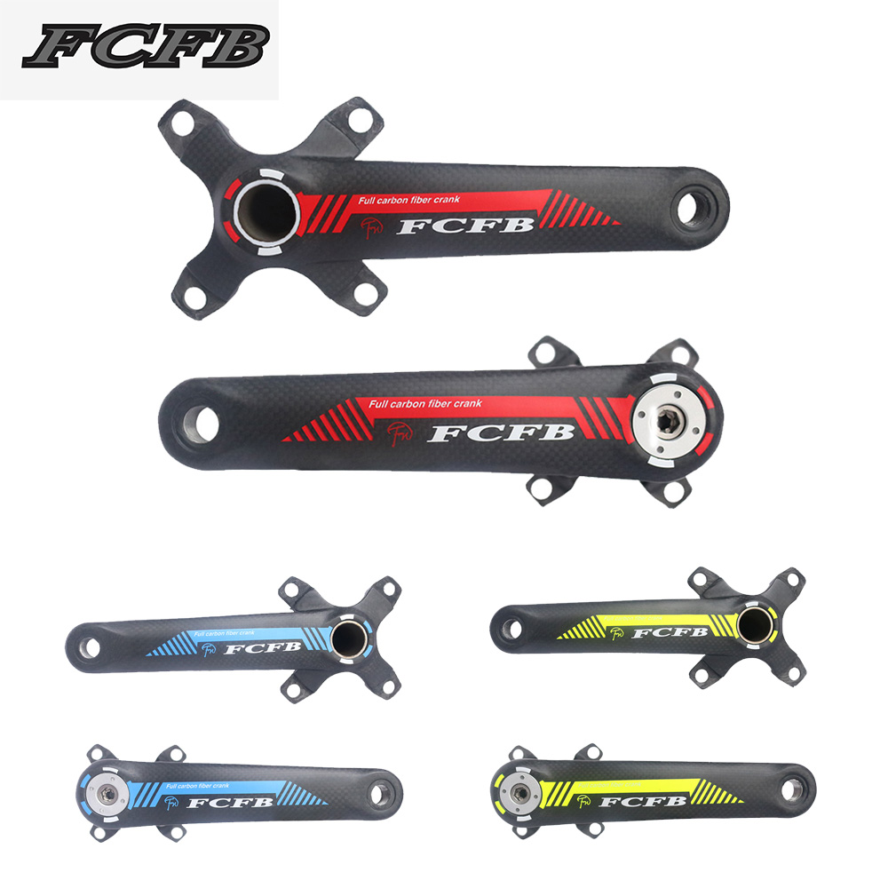 FCFB-Original!New arrival carbon bicycle crank BCD104 MTB BIKE crank 170mm/175mm 3K ultra-light crank arm full carbon crank west biking bike chain wheel 39 53t bicycle crank 170 175mm fit speed 9 mtb road bike cycling bicycle crank