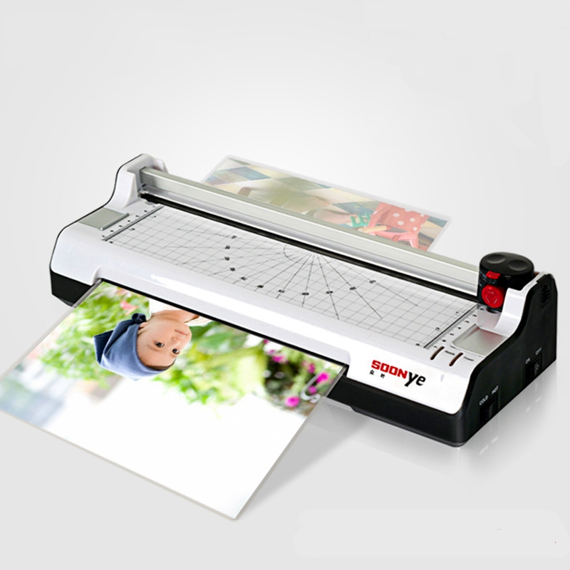 New Smart Photo Laminator A4 Trimmer Machine Sealed Plastic Laminating Machine Hot Cold Laminator a3 a4 cold roll laminator laminating machine 4 roller system photo laminator lk4 320 220v 300w cold laminator