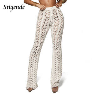 Stigende Women Summer Beach Mesh Flare Pant Sexy Trousers