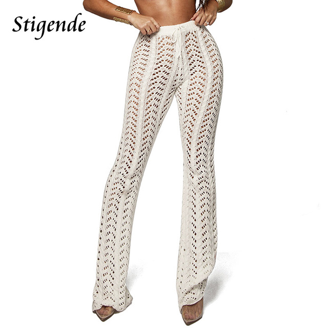 Stigende Women Summer Beach Knitted Hollow Out Pants See Through Mesh Crochet Flare Pant Sexy Bodycon Party Trousers Clubwear