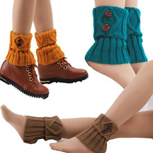 Button socks women knitted legs boots loose short warmth turn over leg warmers pair of stylish button lace embellished hemp flowers knitted leg warmers for women