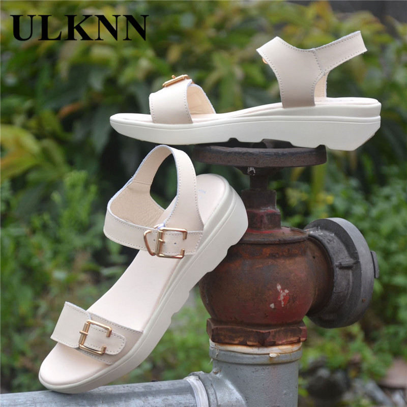 ULKN women Open Toe Platform Sandals women casual shoes Nwomen sandals PU Leather flat Sandals Low Wedges Summer Shoes 5