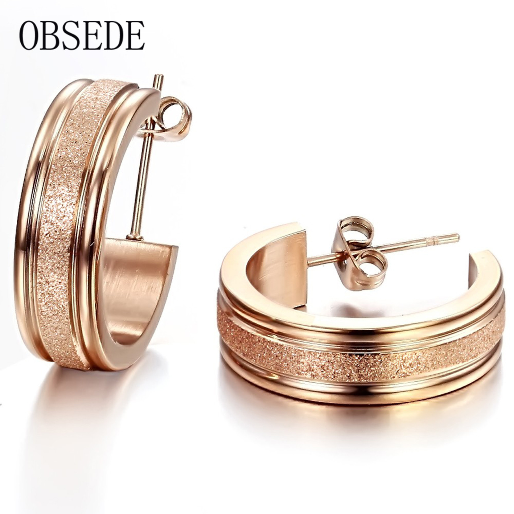 Obsede Fashion Unique Gift Rose Gold Matte Design Stud Earrings Stainless  Steel Earrings Charm Fine Jewelry