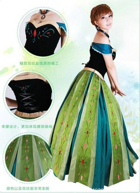 Snow Queen Anna Dress Adult Halloween Princess Anna -5443