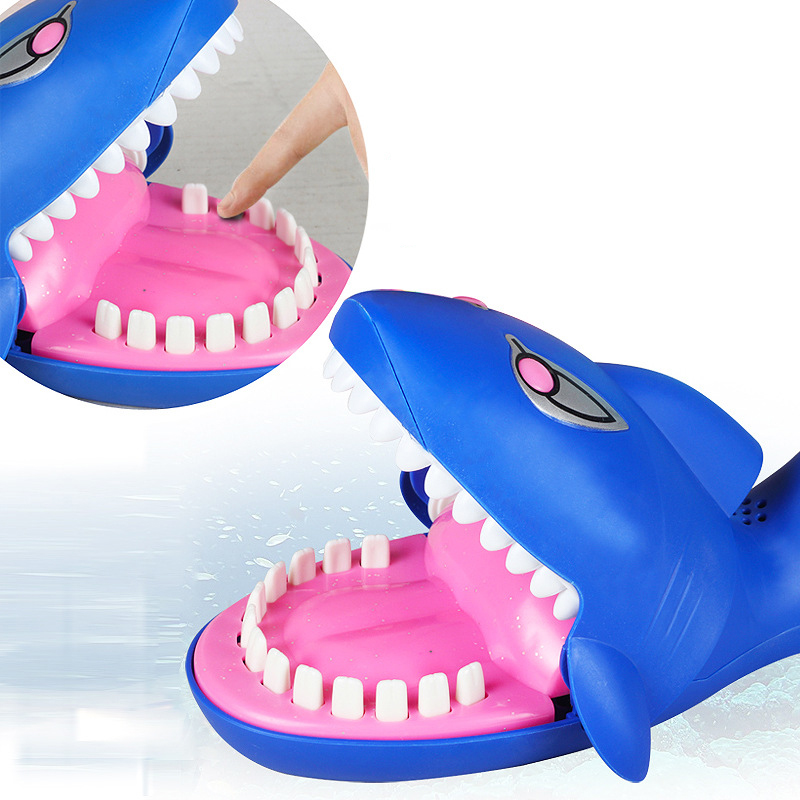 Large Size Shark Mouth Tooth Electric Bite Finger Play Game Funny Novelty Gag Toy with Lights and Sound Anti stress Family Prank