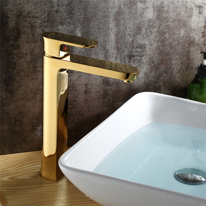 Bathroom Basin Faucets Golden Brass Sink Mixer Tap Square Quality Basin Faucet Single Handle Hot Cold Water Tap Crane Torneira okaros bathroom basin faucet brass golden polish swan shape heighten single handle hot&cold water vanity sink mixer tap 2016 new