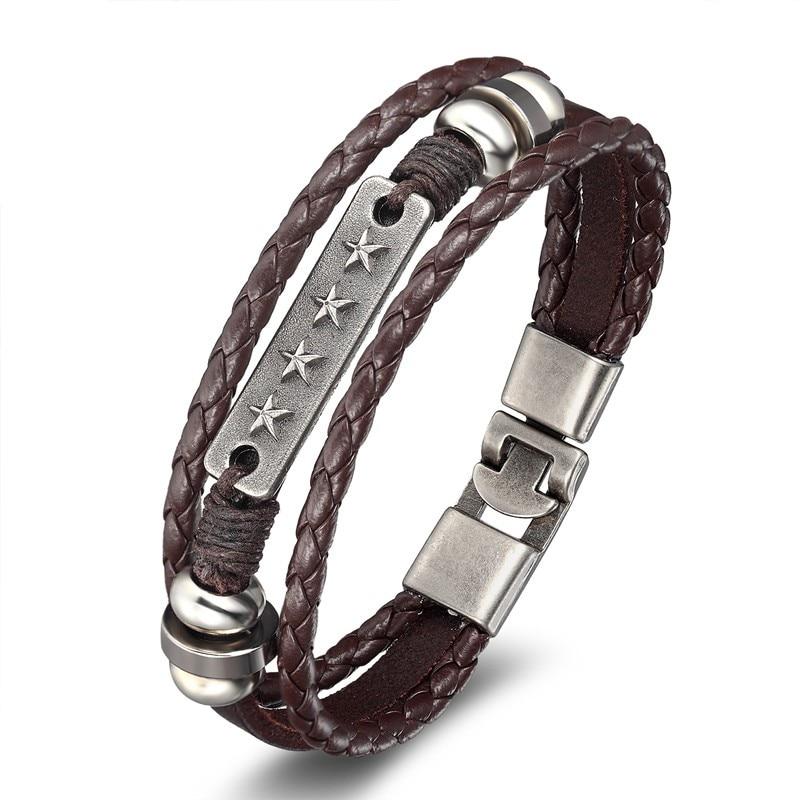 18 New Fashion 3 layer Leather Skull Bracelets&Bangles Handmade Round Rope Turn Buckle Bracelet For Women Men Charm bracelet 13