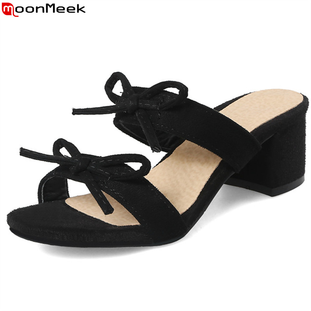 MoonMeek black fashion new arrival summer ladies shoes casual square heel flock shoes woman high heels sandals big size 33-43 xiaying smile summer woman sandals square cover heel woman pumps buckle strap fashion casual flower flock student women shoes