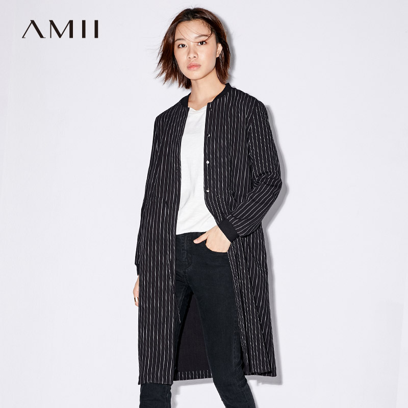 Amii Casual Women Trench Coat 2019 Stripe Single Breasted Adjustable Belt Female Trench Coats