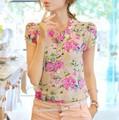 2016 лето женщины ес мода с коротким рукавом шифон Blusas рубашки Большой размер конфеты цвета топы для женщин sml XL XXL