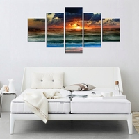 Waterfall Frame Canvas Wall Art Waves Sunset with Flying Sea Gulls Picture Contemporary Painting Seascape Artwork for Home Decor