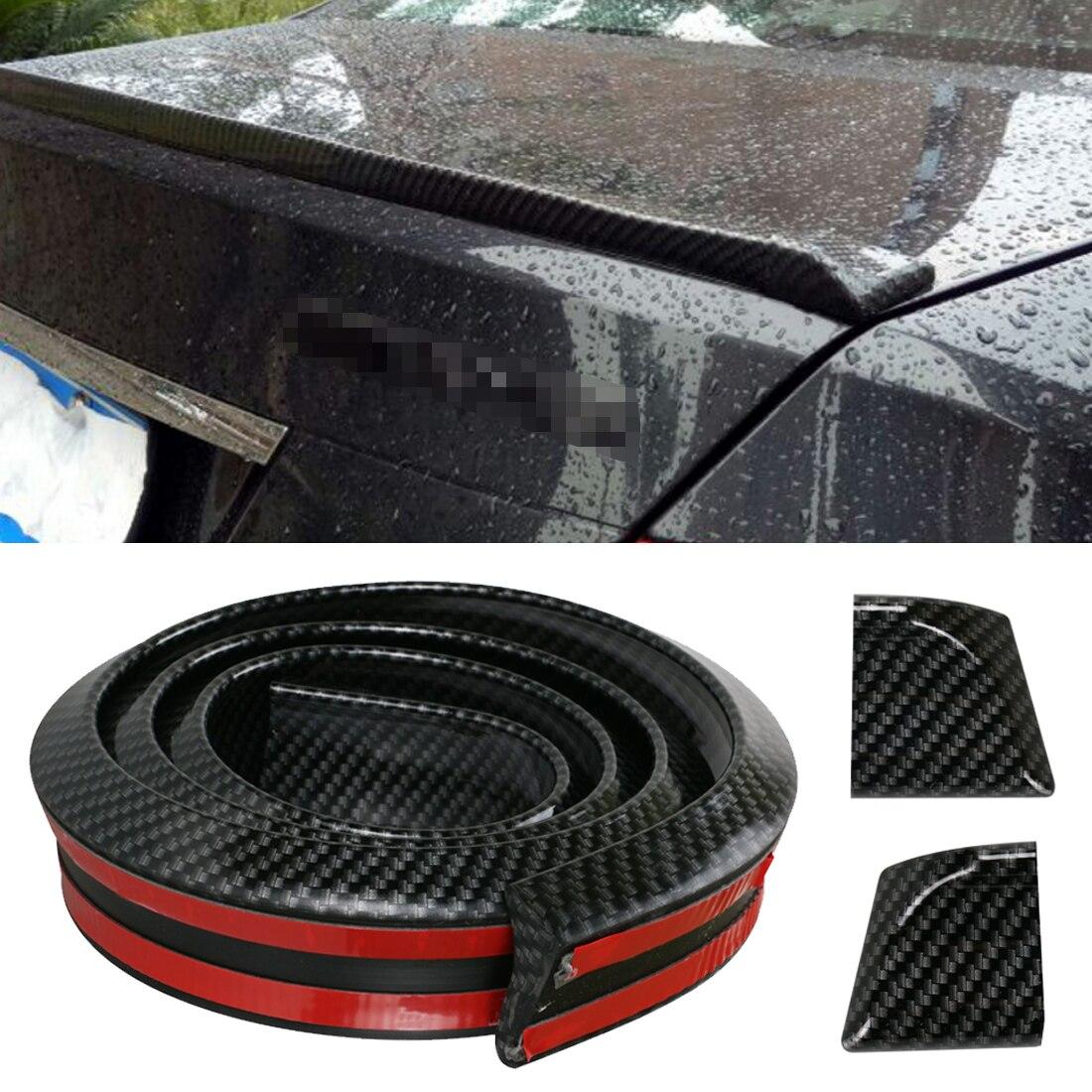 1 5M Universal Car Spoiler Carbon Fiber Rear Spoilers Roof Wings Trunk Sticker Kit Tail Rubber