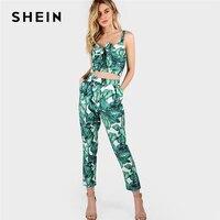 SHEIN 2018 New Front Tie Leaf Print Crop And Matching Pants Set Women V Neck Pocket