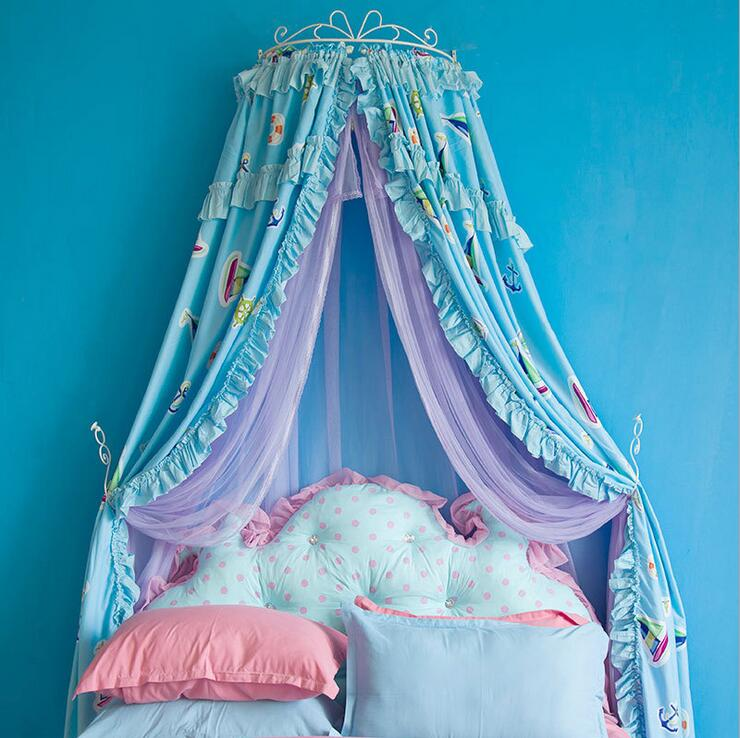 New luxury palace princess mosquito net cartoon Sailing printing bed mantle bed curtain insect screen lace hollow iron bed frame