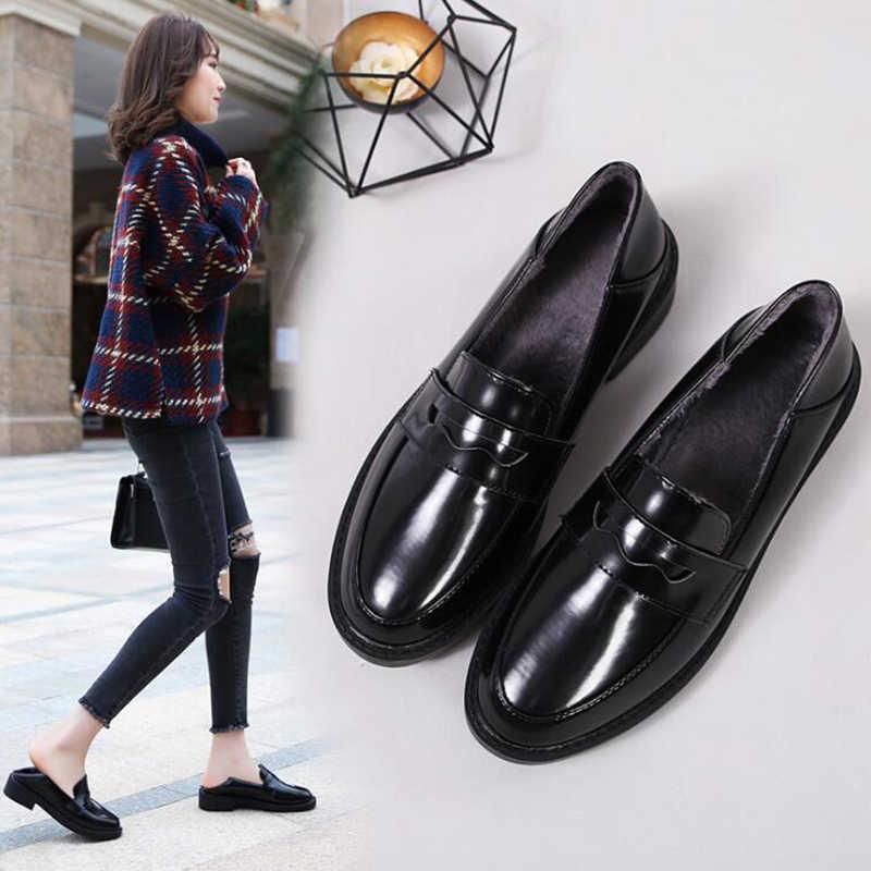 Daireler İngiliz tarzı Oxford ayakkabı kadın bahar yumuşak deri düz topuk rahat ayakkabılar bayan ayakkabıları Retro Brogues sapatos mulher c43