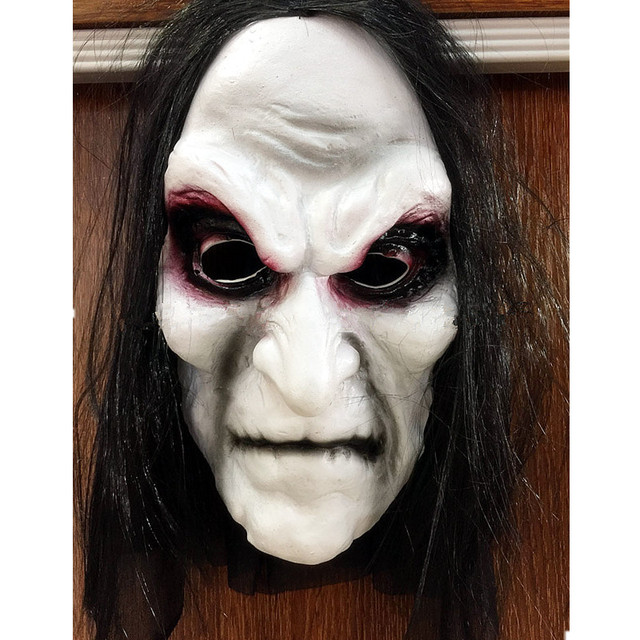 scary mask halloween horror masks with black cloth hair old women zombies ghost latex