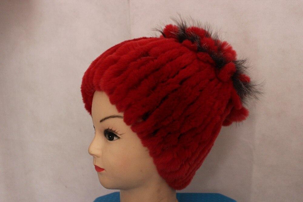 Linhaoshengyue rojo flores sombrero de piel de conejo real piel de la mujer  Cap invierno sombrero de la manera caliente freeshipping 372a22f3a5c5