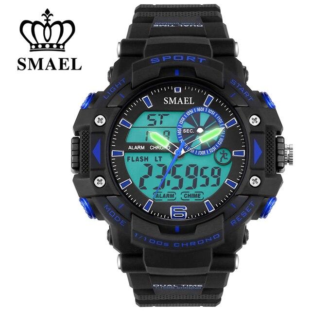 Dual Time Sport Watches SMAEL Quartz Digital Watch Men 50m Waterproof Dive Watch Sport montre homme relogios masculino WS1379