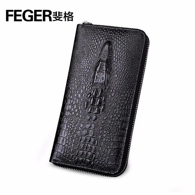 FEGER wallet leather men card holder multiple street top brand latest design durable man zipper animal patterns trend wallet
