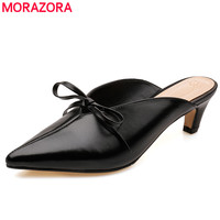 MORAZORA Genuine leather women sandals 5cm mid heel summer fashion shoes woman ladies mules shoes black white dress shoes