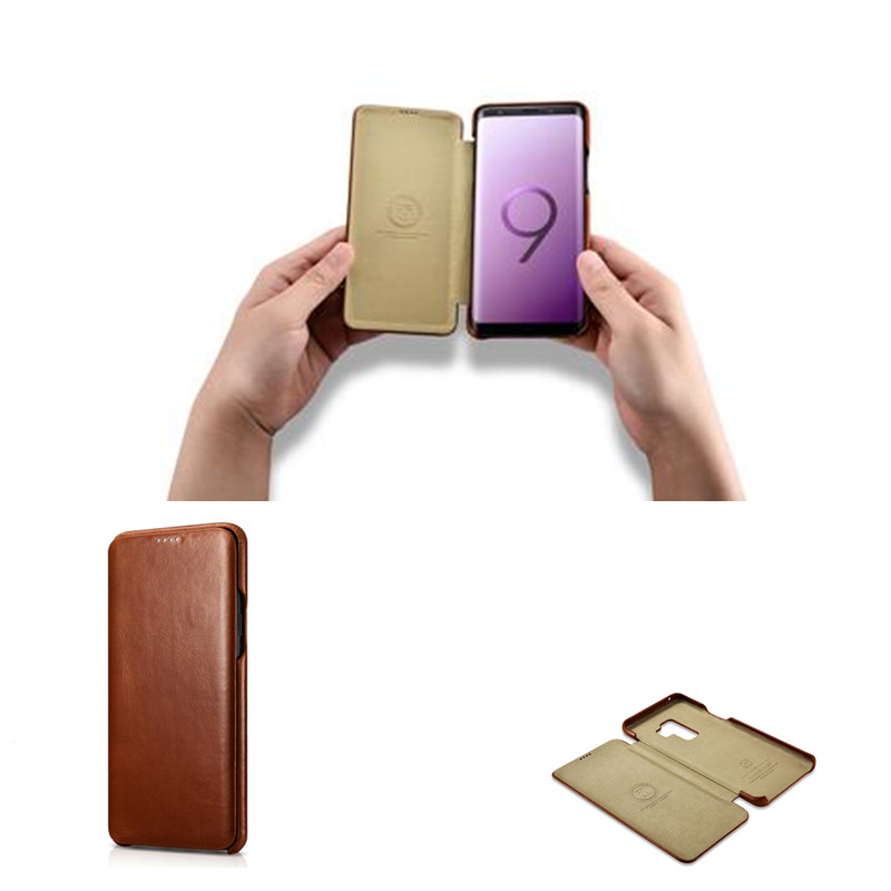 Image 2 - iCarer for Samsung Galaxy S10 S10  S9 S9  Plus Note8 Note 9  Curved Edge Vintage Series Genuine Leather Casefor samsung  galaxyleather casecase leather