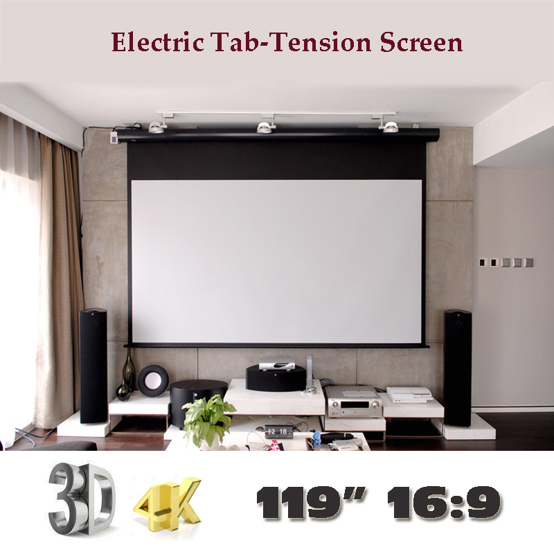 4K 3D 119 inch 16:9 Luxury Electric Tab Tension Screen Home Theater High Quality Cinema Motorized Projector Screens luxury motorized electric tab tension 139inch 16 10 matte white home theater high quality cinema projector screen