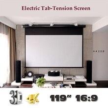 4 К 3D 119 дюймов 16:9 роскошный Электрический Tab Напряжение Экран дома Театр высокое качество Кино моторизованный проектор Экраны
