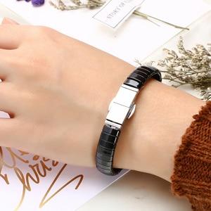 Image 5 - Nieuwe Mode Black Charm Armband Keramische Rvs Crystal Link Armbanden Voor Vrouwen Zilver Kleur Mode sieraden Geschenken