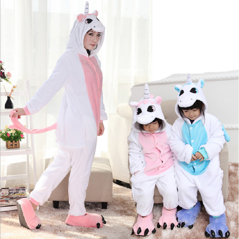 Cosplay Cartoon Family Christmas Pajamas Flannel Animal Onesie Panda Unicorn Family Matching Clothes Mother And Daughter Clothes