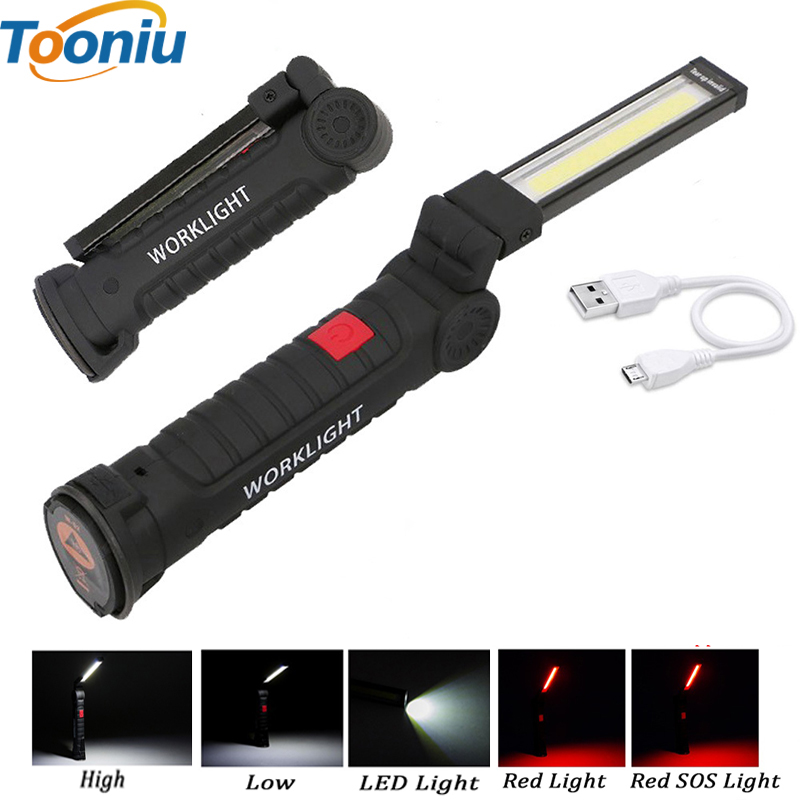 LED cob Handle work flashlight Foldable Torch Fold Work Hand Flash light With the Bottom Magnet Built in Battery USB charge