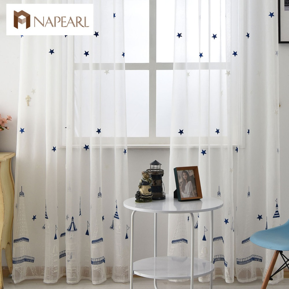 Cafe curtains for bedroom - Embroidered Tulle Linen Curtains White Modern Sheer Fabrics Castle Design Kid Room Fairy Tale Bedroom Window