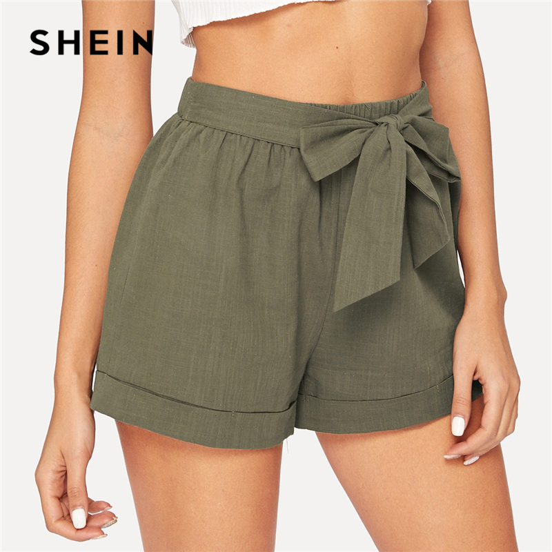 SHEIN Self Belted Elastic Waist Shorts Fitness Swish Women Army Green Solid Mid Waist Shorts 2019 Fashion Summer Shorts 1