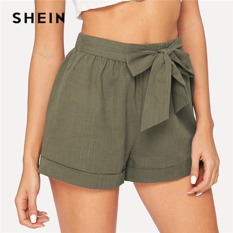 SHEIN Self Belted Elastic Waist   Shorts   Fitness Swish Women Army Green Solid Mid Waist   Shorts   2019 Fashion Summer   Shorts