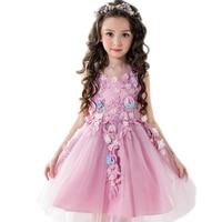 2017 New Summer Purple Flower Fairy Child Dress Girls Princess Dresses Embroidery Flower Girl Wedding Costume